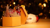 paper box new year toy hat table gold bokeh hd footage