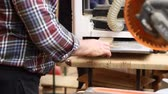 schrijnwerk : Craftsman woodworking at carpentry with lots of modern professional power tools. Man using thicknessing machine and circular saw and other equipment at workshop Stockvideo
