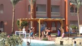 stupínek : Hurghada, Egypt - May 10, 2015: Animators carry out aerobics with tourists in the hotel Aqua Vista in Hurghada