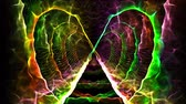 beta cell : Seamless loop abstract animation electrical neuro nervous system in human brain with illusionary colorful light sparking represent subconscious mind, beta wave ignition, and six senses in butterfly shape hole used for sci-fi and science screen saver in 4k
