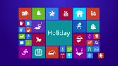 jemioła : Trendy Christmas and holiday festival computer or mobile application app program animation with present and event ornament icon in colorful geometric square block with header text in 4k ultra HD