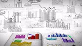 ekonomi bilimi : Animation of business, marketing and financial colorful statistic information doodle such as graph chart and diagram in a notebook document report used for education and presentation title in 4k ultra HD loop