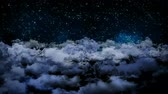 galaxy : Seamless 3d animation of aerial view of cloudy night sky with clouds and star light falling with camera moving in night scene skyscape background in 4k loop