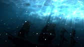 bermudas : Seamless animation of deep blue ocean with shipwreck background. Ship sunk in undersea water as a silhouette background. With bubbles and light shinning through the sea water surface