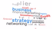 Animation business marketing finance and management word loop. Graphic words use for background pattern, introduction presentation advertisement or business education concept 4k. Stock Footage