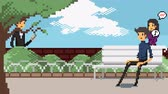 Retro pixel art game fashionable characters animation of various people walking dating and meeting for actrivities in the park and brick wall background scene animation in 4k Stock Footage