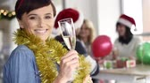 causal : Close up of woman holding drinking glass with champagne Stock Footage