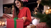 prezent : Cheerful woman holding gift box at christmas tree