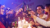 push : Group of people drinking alcohol at the halloween party