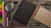 variação : Various school supplies on wooden background