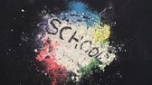 chalk : Colorful chalk powder on the blackboard Stock Footage