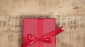 parsel : Handmade christmas presents on wooden background