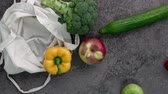 группа объектов : Bag of different, fresh vegetables