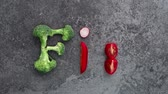 Text fit made of vegetables