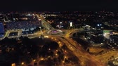 Drone view of busy city at night