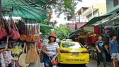 khaosan : Bangkok,Thailand - Nov 10 ,2019 : Backpacking district of Khao San Road is the traveler hub of South East Asia with bars and restaurants as well as budget hostels. People can seen exploring around it.