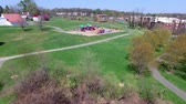Park Playground Equipment and Duck Pond Aerial Footage