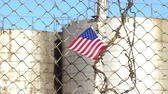 fence : American Flag on Barbed Wire Fence 4K