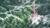 Christmas decoration star hanging on snowy fir tree 4K Stockvideo