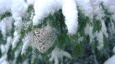 Heart shaped Decoration hanging on fir