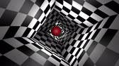 Red ball in a square chess tunnel (chess metaphor). The space and time. Cyclical 3D animation. Available in high-resolution and several sizes to fit the needs of your project. Seamless Looping Stock Footage