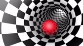 Red ball in a chess tunnel (chess metaphor). The space and time. Cyclical 3D animation. Available in high-resolution and several sizes to fit the needs of your project. Seamless Looping
