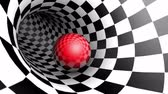 ограничение : Red ball in a chess tunnel (chess metaphor). The space and time. Cyclical 3D animation.