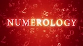 Numerology (secret knowledge about the numbers). Video screensaver with text. Artistic dark orange background. 3D animation. Available in high-resolution and several sizes to fit the needs of your project.