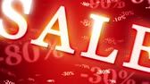 Greater autumn discounts (dumping,%, percentages, purchase, sale). Shining and blinking golden numbers on a dark red artistic background. 3D animation. Available in high-resolution and several sizes to fit the needs of your project.