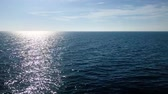 oceans : Vivid blue ocean horizon sun reflecting and shining on water surface
