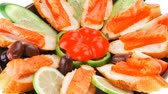 песто : fresh vegetables with salmon on dark dish Стоковые видеозаписи