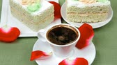 columbian : sweet breakfast : whipped cream on sweet cake with hot black coffee Stock Footage