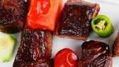 recipe : european food: grilled beef meat  china plate  with olives and tomatoes