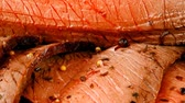 recipe : roast beef meat slice with red hot pepper 1920x1080 intro motion slow hidef hd