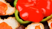 песто : smoked salmon on baguette with olives and pepper 1920x1080 intro motion slow hidef hd