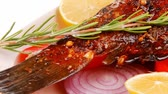 seabass : savory: whole fried sunfish over plate with tomatoes lemons and peppers 1920x1080 intro motion slow hidef hd