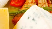 гауда : pink salmon and french cheeses on green 1920x1080 intro motion slow hidef hd