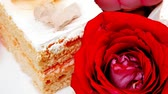 afters : sweet food: cake with whipped cream served with roses saucer 1920x1080 intro motion slow hidef hd