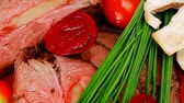 roast ham : roasted meat served on red dish with vegetables 1920x1080 intro motion slow hidef hd Stock Footage