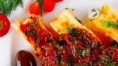 erva doce : baked cannelloni served with pepper and tomato 1920x1080 intro motion slow hidef hd