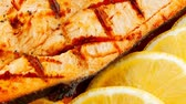гауда : grilled salmon steak on red plate with tomatoes 1920x1080 intro motion slow hidef hd