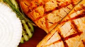 гауда : grilled salmon and french cheeses on wooden plate 1920x1080 intro motion slow hidef hd