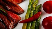 chřest : meat and vegetables plate with spices 1920x1080 intro motion slow hidef hd