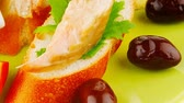 salmon pink : salmon on baguette slices with butter and dark olives 1920x1080 intro motion slow hidef hd Stock Footage