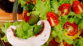 bell pepper ring : vegetables in salad on wood 1920x1080 intro motion slow hidef hd