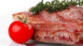 charbroiled : meat food : grilled beef spare rib dish with thyme pepper and tomato 1920x1080 intro motion slow hidef hd