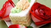 afters : sweet food: tender cheese cream cake served dish with roses 1920x1080 intro motion slow hidef hd