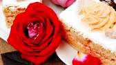 afters : sweet food: cheese cream cake piece dish with roses 1920x1080 intro motion slow hidef hd
