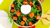 recipe : green salad with salmon and tomatoes on plate 1920x1080 intro motion slow hidef hd