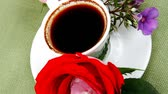 columbian : sweet food : milked cream cake with roses and hot black coffee cup 1920x1080 intro motion slow hidef hd